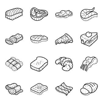Biefstuk en fast food hand getrokken pictogrammen pack