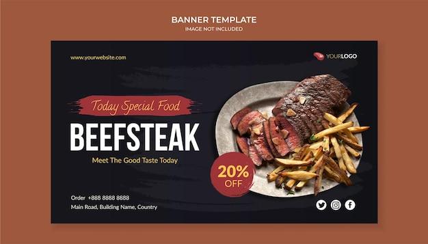 Biefstuk eten sjabloon voor spandoek voor restaurant en café