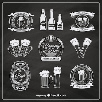 Bier badges in retro stijl