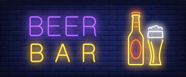 Bier bar neon stijl banner