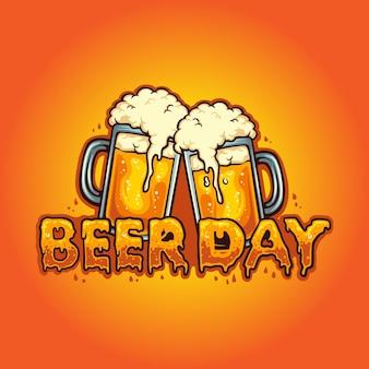 Bier dag lettertype gezamenlijke twee glazen alcohol vectorillustraties