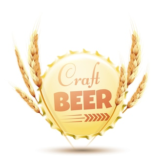 Bier dop met oren van tarwe op wit wordt geïsoleerd.