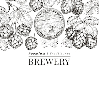 Bier en hop ontwerpsjabloon. hand getekend vector brouwerij illustratie. gegraveerde stijl. retro brouwen illustratie.