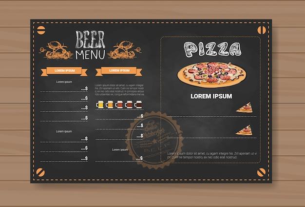 Bier- en pizzamenu-ontwerp voor restaurant-café-pub chalked
