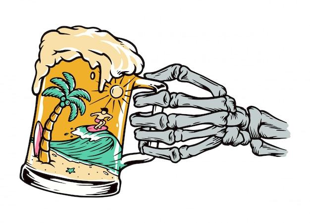 Bier en strand illustratie