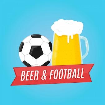 Bier en voetbal illustratie. voor bar
