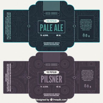 Bier etiketten met geometrische achtergrond