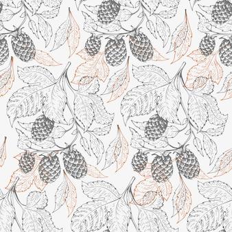 Bier hop naadloze patroon