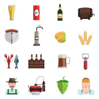 Bier iconen vlakke set