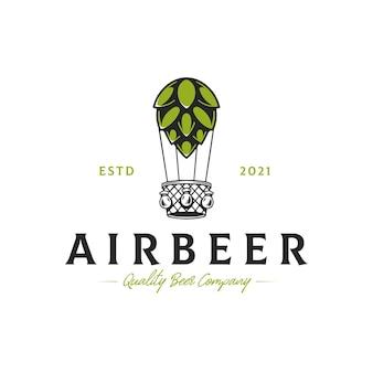Bier luchtballon logo sjabloon