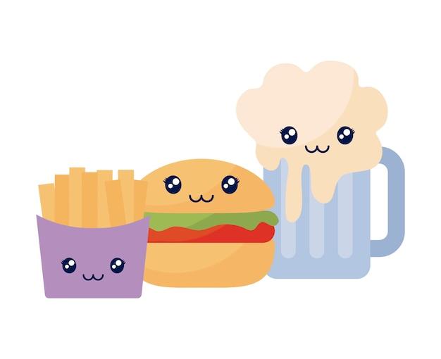 Bier met frietjes en hamburger kawaii karakter