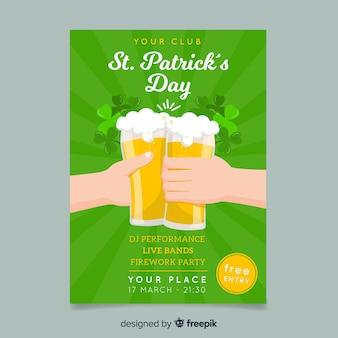 Bier toast st patrick's dag poster sjabloon
