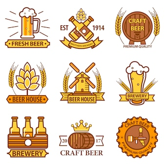 Bier vector iconen voor brouwerij bar pub of productlabels