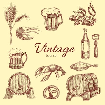 Bier vintage monochroom set