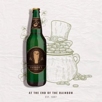 Bieradvertentie met vintage illustratie