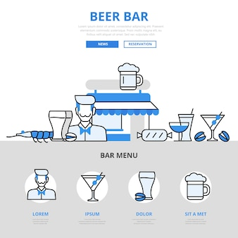 Bierbar pub drankje cocktail snack restaurant concept platte lijnstijl.