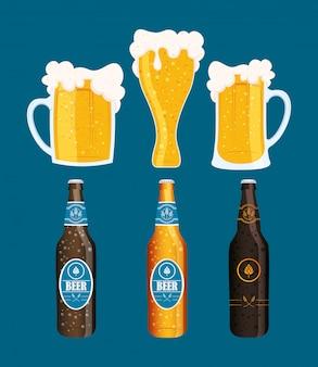 Bierdag viering evenement met flessen en potten