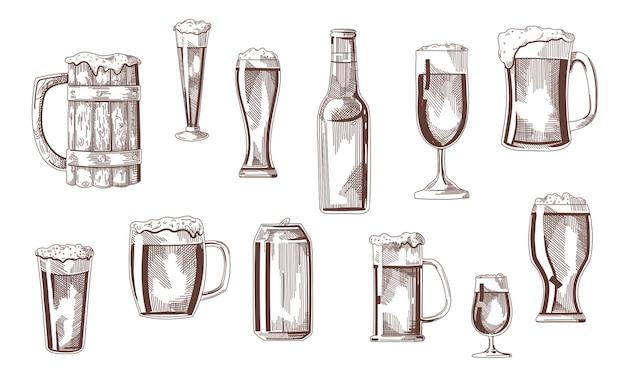 Bierdrankje in glazen, pinten, mokken, kan schetsen set