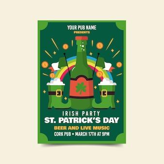 Bieren en geluksvogels st. patrick's day flyer
