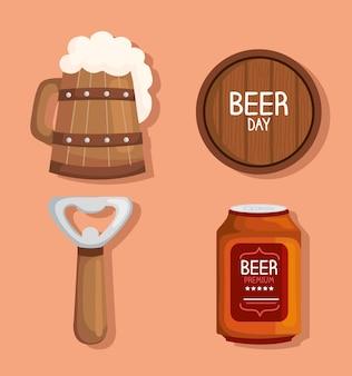 Bieren vier iconen