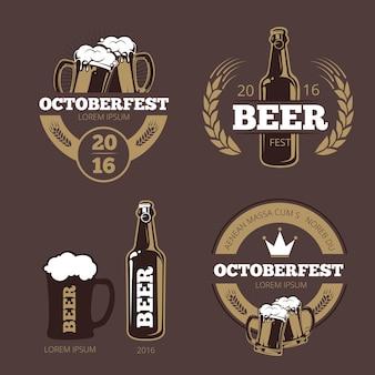 Bieretiket-sjablonen voor bierhuis, brouwerij, pub en bar.