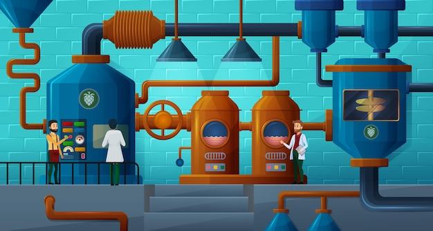 Bierfabriek met brouwers voor productieproces brouwerij illustratie