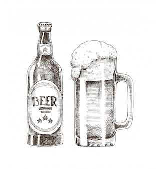 Bierfles en glazen beker illustratie