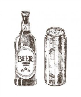 Bierfles en kan geïsoleerd