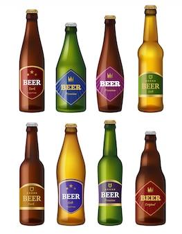 Bierflessen etiketten, alcohol koude dranken containers schepen badges projecten,