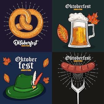 Bierglas hoed krakeling en worst op vork ontwerp, oktoberfest duitsland festival en feestthema