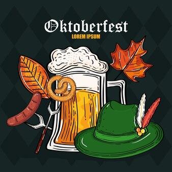 Bierglas hoed krakeling op vork en worst ontwerp, oktoberfest duitsland festival en feestthema
