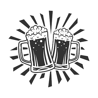Bierglas illustratie zwart-wit