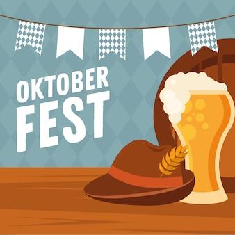 Bierglas met hoed en banner wimpel ontwerp, oktoberfest duits festival en feestthema