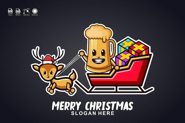 Bierglas slee rit vrolijk kerstfeest schattig mascotte karakter logo ontwerp