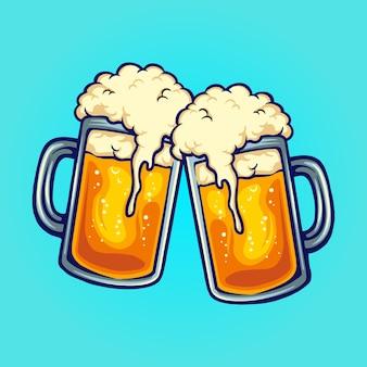 Bierglas two party joint vector illustraties voor uw werk logo, mascotte merchandise t-shirt, stickers en labelontwerpen, poster, wenskaarten reclame bedrijf of merken.