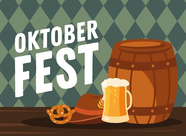 Bierglas vat krakeling en hoed ontwerp, oktoberfest duits festival en feestthema