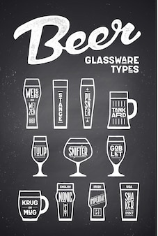 Bierglaswerk soorten. poster of spandoek met verschillende soorten