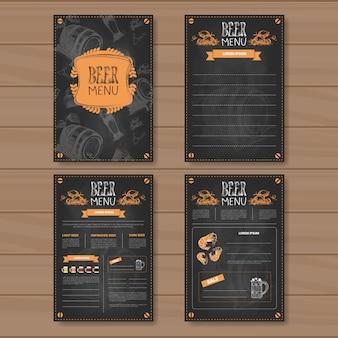 Biermenu decorontwerp voor restaurant cafe pub chalked