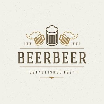 Bierontwerpelement in vintage stijl voor logo