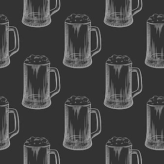 Bierpul naadloze patroon. volle bierglazen met schuim.
