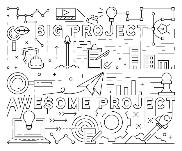 Big and awesome project line art design