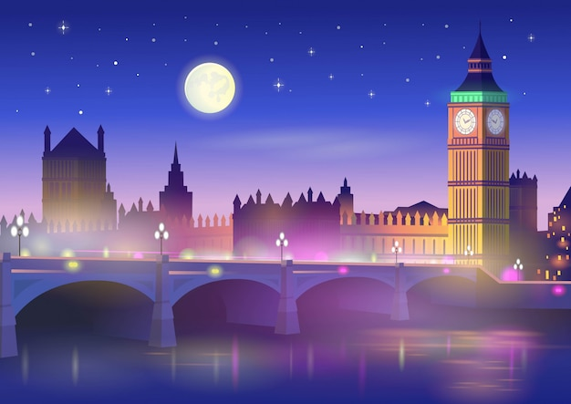 Big ben en westminster bridge in londen 's nachts. vectorillustratie in cartoon-stijl.