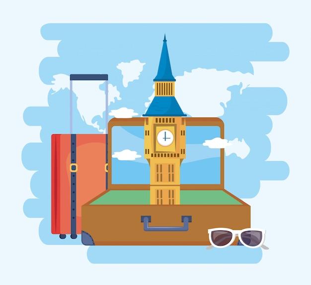 Big ben in de koffer met bagage en zonnebril