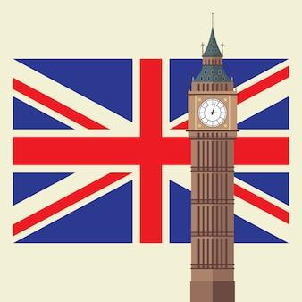Big ben met de vlag van het verenigd koninkrijk