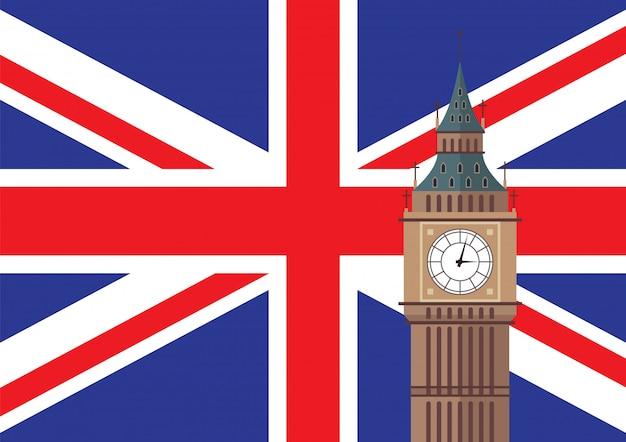 Big ben met de vlagachtergrond van het verenigd koninkrijk