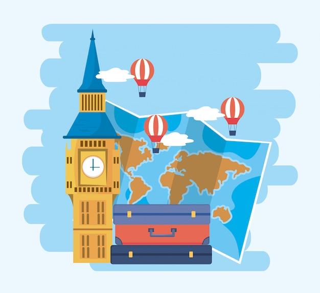 Big ben met globale kaart en luchtballonnen