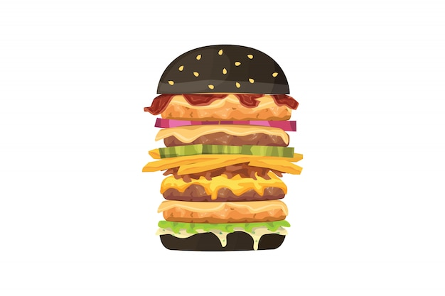 Big burger cartoon fastfood illustratie. zwarte hamburger.