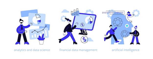 Big data abstract concept illustratie set
