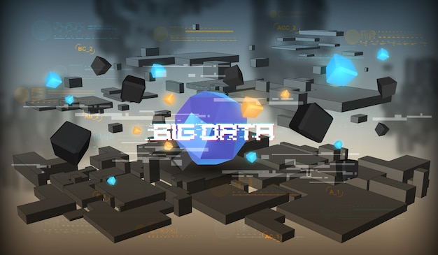 Big data abstracte visualisatie. futuristisch esthetisch ontwerp. big data-achtergrond met hud-elementen.