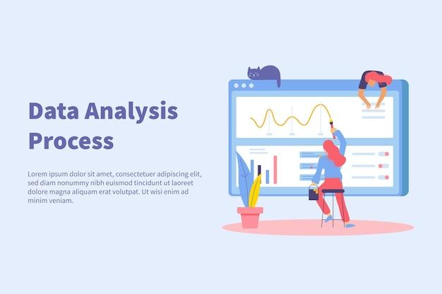 Big data-analyse concept vlakke afbeelding met bewerkbare tekst en doodle afbeeldingen van vrouw schilderij curve op het scherm